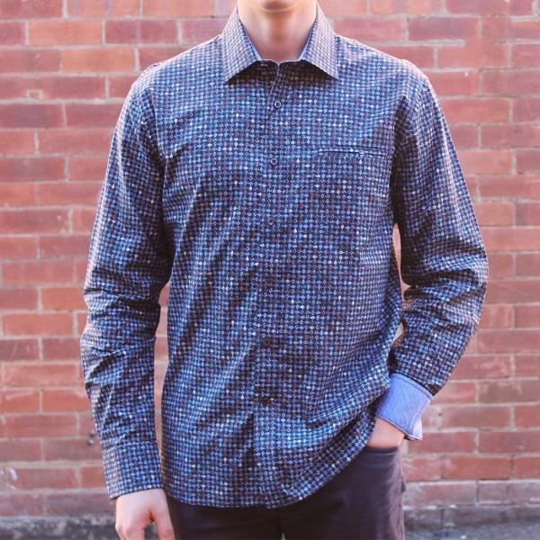 a762a0a844 Berlin Dobby Stripe Print Long Sleeve Shirt Front ...