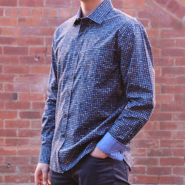 5fab674001 ... Berlin Dobby Stripe Print Long Sleeve Shirt Side ...