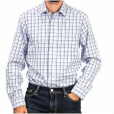 RM Williams Long Sleeve Collins Check Blue And White Shirt-front