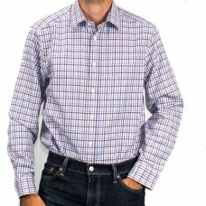RM Williams Long Sleeve Collins Check Burgundy And Blue Shirt-front