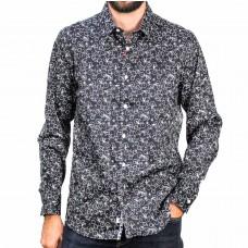 John Lennon By English Laundry Long Sleeve Black Bike Cotton Shirt-front