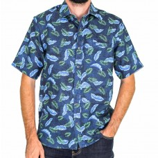 Berlin Short Sleeve Leaves Linen Shirt- Front