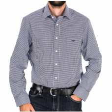 RM Williams Long Sleeve Collins Blue and White Shirt