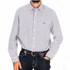 RM Williams Long Sleeve Collins Check Navy and Burgundy Shirt - Front