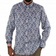 Cutler & Co Long Sleeve Blue Bird Cotton Shirt Front