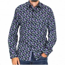 Fredericka Long Sleeve Taupo Flower Shirt-FRONT