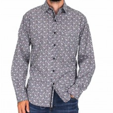 Perrone Long Sleeve Black Paisley Shirt-front