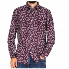 Maurio Long Sleeve Cotton Flower Shirt-Front