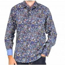Berlin Blue Long Sleeve Bird Cotton Shirt Front