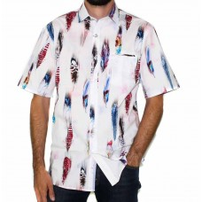 Berlin Short Sleeve Feather Print Shirt-Front