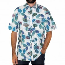 Berlin Short Sleeve Flax Printed Shirt-Front