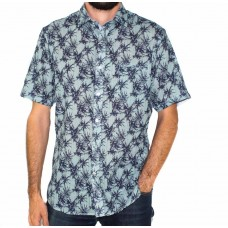 Berlin Short Sleeve Text Palm Print Shirt-Front