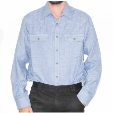 Vonnella Blue Long Sleeve 2 Pocket Brushed Shirt-Front