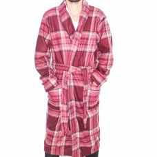 Pierre Cardin Long Sleeve Check Fleece Dressing Gown-Front
