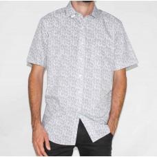 Bridgeport Short Sleeve White Leaf Shirt-FRONT