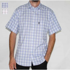 Aertex Short Sleeve Checked Cotton Shirt-Hero