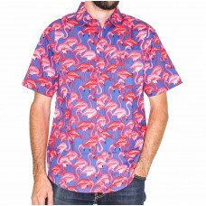 Coast Highway Short Sleeve Flamingo Shirt -Front