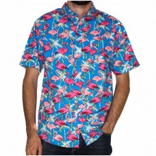 Coast Highway Short Sleeve Bright Flamingo Shirt-Front