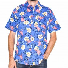 Coast Highway Short Sleeve Flower Flamingo Shirt-Front
