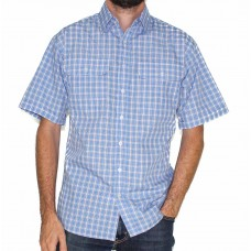 Bisley Short Sleeve Small Checks Blue Shirt-Front