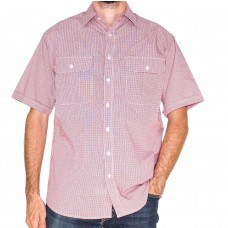 Bisley Short Sleeve Small Checks Red Shirt-Front