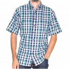 Bisley Short Sleeve Cotton Medium Checks Teal Shirt-Front