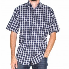 Bisley Short Sleeve Cotton Navy Shirt-Front