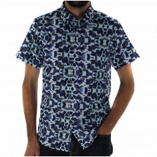 Stafford Ellinson Short Sleeve Diamond Print Shirt Front Front