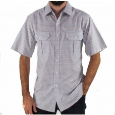 Gloster Brown Short Sleeve Cotton Shirt Front