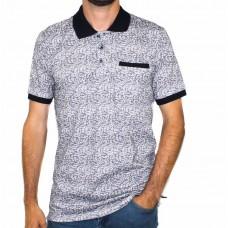 Thomson & Richards Short Sleeve Leaf Print Polo-Front