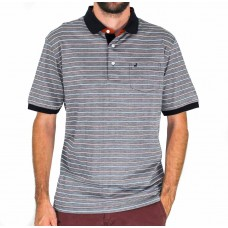 Michel Rouen Merc Black And Rust Short Sleeve Stripe Polo Front
