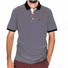 Michel Rouen Merc Black And White Short Sleeve Stripe Polo Front