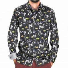 Berlin Long Sleeve Fish Print Black Shirt front