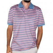 Back Bay Short Sleeve Merc Strip Polo-Front