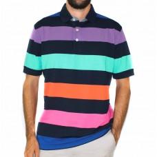 Back Bay Short Sleeve Stripe Knit Polo-Front