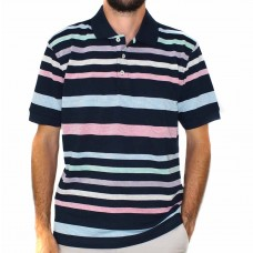 Back Bay Short Sleeve Coloured Stripe Knit Polo-Front