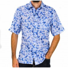 Berlin Short Sleeve Sky Linen Shirt Front