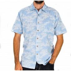 Kingston Grange Short Sleeve Bamboo Bamleaf Blue Shirt Front