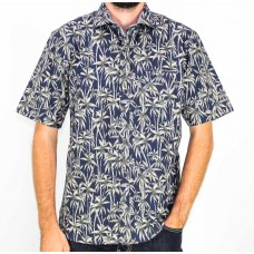 Berlin Short Sleeve Cotton Navy Palm Print Shirt Front