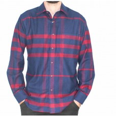 Country Look Long Sleeve Brushed Red Check Shirt-Front