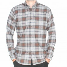 Country Look Long Sleeve Taupe Brushed Check Shirt-Front