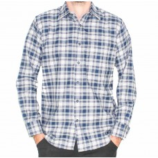 Country Look Long Sleeve Brushed NavyCheck Shirt-Front