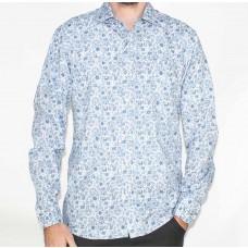 Berlin Long Sleeve Blue Paisley Shirt-Front