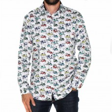 Ak Demire Long Sleeve Scooter Print Shirt-FRONT