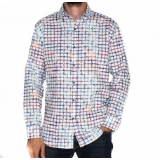 Ak Demire Long Sleeve Printed Check Shirt-FRONT