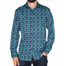 Ak Demire Long Sleeve Leaf Print Shirt-FRONT
