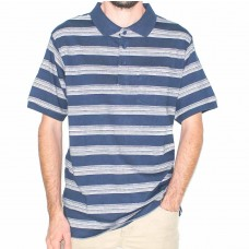 Bertini Short Sleeve Cotton Navy and Silver Stripe Polo-Front