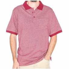 Bertini Short Sleeve Cotton Wine and Silver Printer Polo-Front