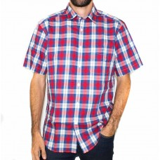 RM Williams Hervey Red and Blue Check Short Sleeve Shirt-Front