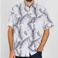 Kingston Grange White Short Sleeve Feather Bamboo Shirt- Front